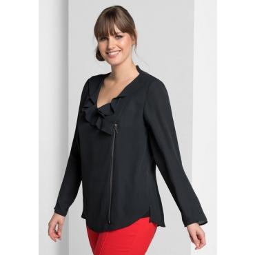 Große Größen: Blusenjacke mit Volant, schwarz, Gr.40-58