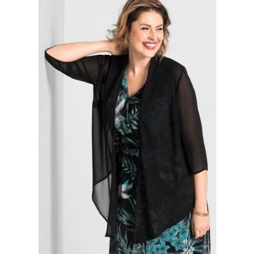 Große Größen: Blusenjacke mit Zipfel und 3/4-Ärmeln, schwarz, Gr.40/42-56/58