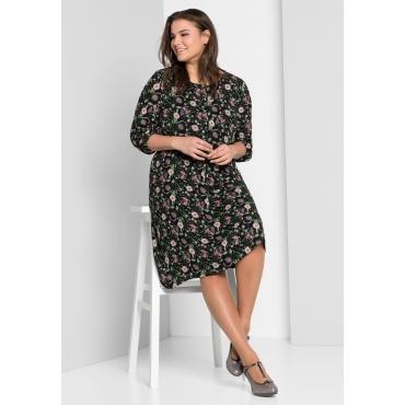 Große Größen: Blusenkleid aus Georgette, schwarz bedruckt, Gr.44-58