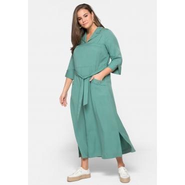 Blusenkleid mit 3/4-Ärmeln und Bindeband, seegrün, Gr.44-58