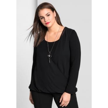Große Größen: Blusenshirt mit Bodyforming-Innentop, schwarz, Gr.44-58