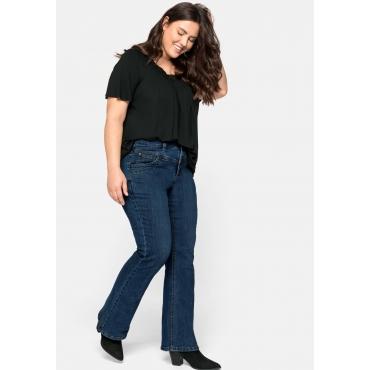 Bootcut Jeans in 5-Pocket-Form, mit Kontrastnähten, blue Denim, Gr.44-58