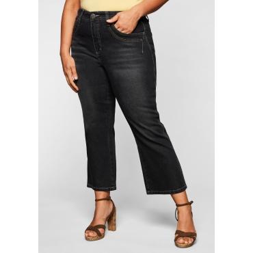 Bootcut-Jeans in 7/8-Länge mit Deko-Taschen, black Denim, Gr.44-58