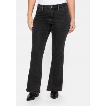 Bootcut Jeans MAILA mit seitlichen Taschen, black Denim, Gr.44-58