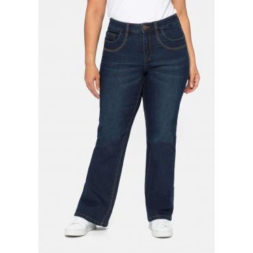 Bootcut Jeans mit Knopflochgummi innen, dark blue Denim, Gr.40-58