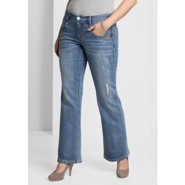 Große Größen: Bootcut-Jeans mit Pailletten, light blue Denim, Gr.40-58