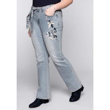 Große Größen: Bootcut-Jeans mit Stickerei, light blue Denim, Gr.44-58