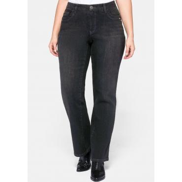Bootcut Jeans VERENA mit Nieten und Catfaces, black Denim, Gr.44-58