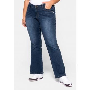 Bootcut Jeans VERENA mit Nieten und Catfaces, dark blue Denim, Gr.44-58