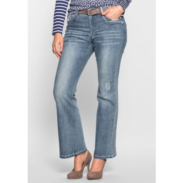 Große Größen: Bootcut-Stretch-Jeans im femininen Look, light blue Denim, Gr.40-58