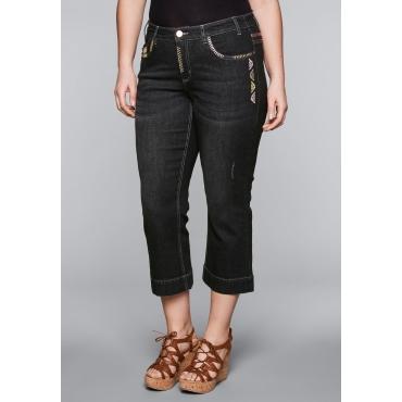 Große Größen: Bootcut-Stretch-Jeans in 7/8-Länge, black Denim, Gr.44-58