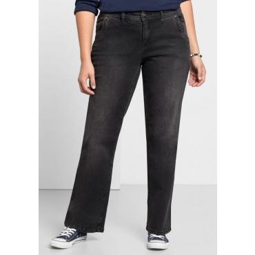 Große Größen: Bootcut-Stretch-Jeans MAILA, black Denim, Gr.21-104