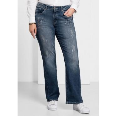 Große Größen: Bootcut Stretch-Jeans MAILA, blue Denim, Gr.21-104