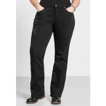 Große Größen: Bootcut-Stretch-Jeans mit Destroyed-Effekten, black Denim, Gr.44-58