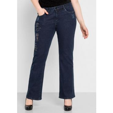 Große Größen: Bootcut-Stretch-Jeans mit Destroyed-Effekten, dark blue Denim, Gr.44-58