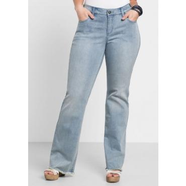 Große Größen: Bootcut-Stretch-Jeans mit Fransen, light blue Denim, Gr.40-58