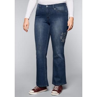 Große Größen: Bootcut-Stretch-Jeans mit Glitzersteinen, dark blue Denim, Gr.44-58