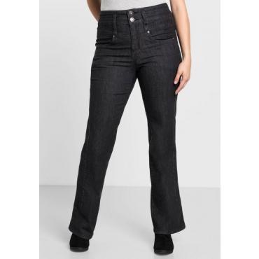 Große Größen: Bootcut-Stretch-Jeans mit High-Waist-Bund, black Denim, Gr.40-58