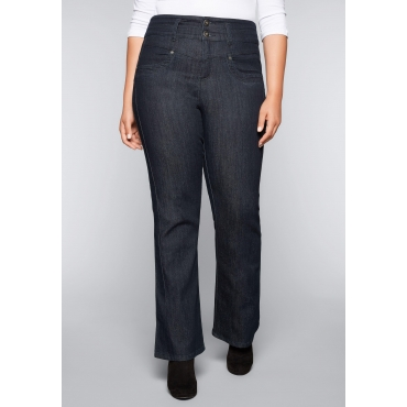 Große Größen: Bootcut Stretch-Jeans mit High-Waist-Bund, dark blue Denim, Gr.44-58