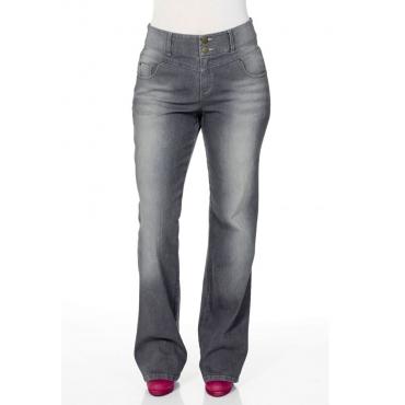 Große Größen: Bootcut-Stretch-Jeans mit High-Waist-Bund, grey Denim, Gr.40-88