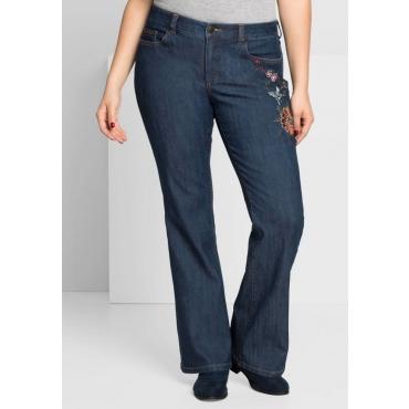 Große Größen: Bootcut-Stretch-Jeans mit Stickerei, dark blue Denim, Gr.44-58