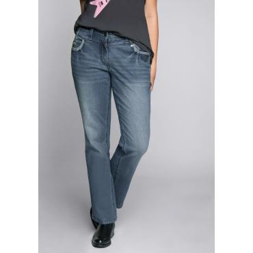 Große Größen: Bootcut-Stretch-Jeans mit Used-Waschung, blue Denim, Gr.44-58