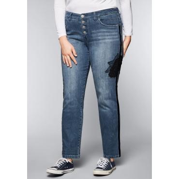 Große Größen: Boyfriend-Jeans mit Blumenapplikation, blue Denim, Gr.44-58