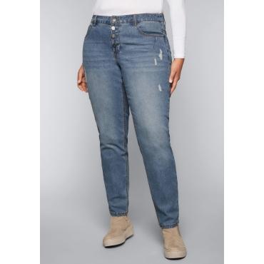 Große Größen: Boyfriend-Jeans mit Destroyed-Effekten, blue Denim, Gr.44-58