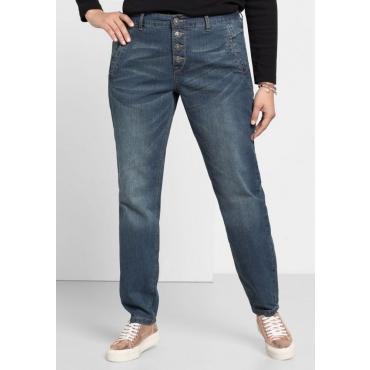 Große Größen: Boyfriend Stretch-Jeans mit Knopfleiste, blue Denim, Gr.40-58