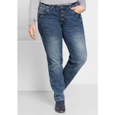 Große Größen: Boyfriend Stretch-Jeans mit Stickerei, blue Denim, Gr.44-58