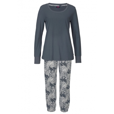 Große Größen: Buffalo Pyjama mit gemusterter Hose & passendem Langarmshirt, anthrazit, Gr.40/42-56/58