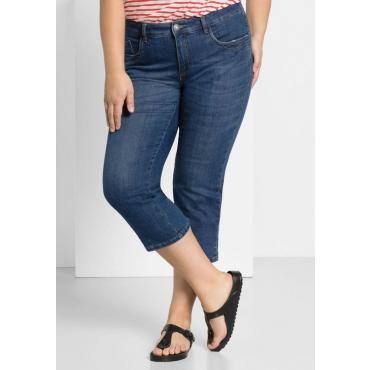 Große Größen: Capri-Jeans mit bedrucktem Umschlag, blue Denim, Gr.44-58