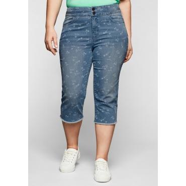 Capri-Jeans mit Blümchenprint und Fransen am Saum, blue used Denim, Gr.44-58