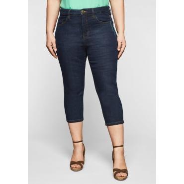 Capri-Jeans mit Catfaces und Kontrastnähten, blue black Denim, Gr.44-58