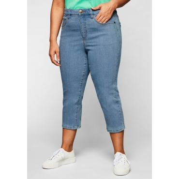 Capri-Jeans mit Catfaces und Kontrastnähten, light blue Denim, Gr.44-58