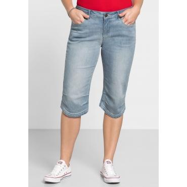 Große Größen: Capri-Jeans mit Used-Effekten, blue Denim, Gr.40-58