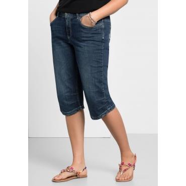 Große Größen: Capri-Jeans mit Used-Effekten, dark blue Denim, Gr.40-58