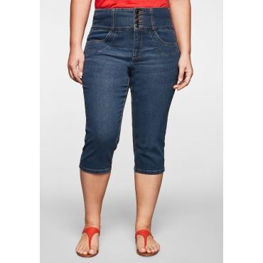 Capri-Jeans schmal mit breitem High-Waist-Bund, blue Denim, Gr.44-58