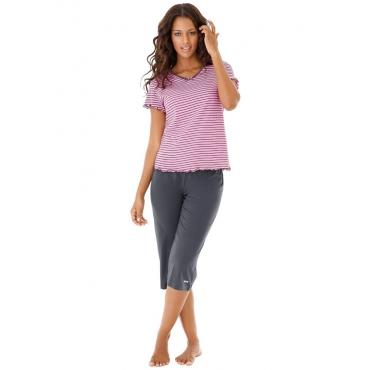 Große Größen: H.I.S Capri-Pyjama mit T-Shirt, hellpink+anthrazit, Gr.40/42-56/58