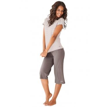 Große Größen: H.I.S Capri-Pyjama mit T-Shirt, taupe+creme, Gr.40/42-56/58