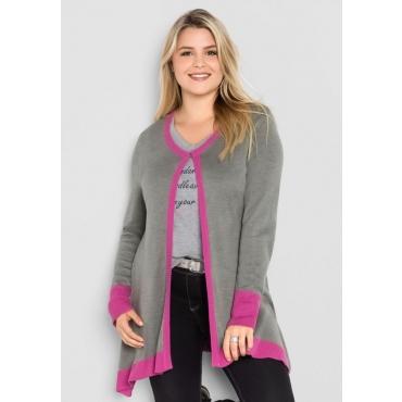 Große Größen: Cardigan in offener Form, grau meliert-pink, Gr.40/42-56/58