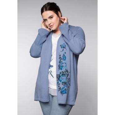 Große Größen: Cardigan mit Blumendruck in verschlussloser Form, taubenblau, Gr.44/46-56/58