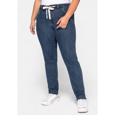 Chino Jeans mit Tunnelzug und Kontrastnähten, blue Denim, Gr.44-58
