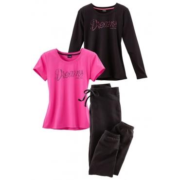 Große Größen: Dreiteiliges Pyjamaset Vivance, T-Shirt, Langarmshirt und Hose, schwarz+pink, Gr.40/42-56/58