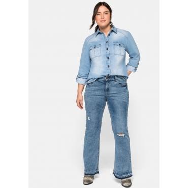 Große Größen: Flare Jeans mit Destroyed-Effekten und Fransensaum, blue used Denim, Gr.44-58