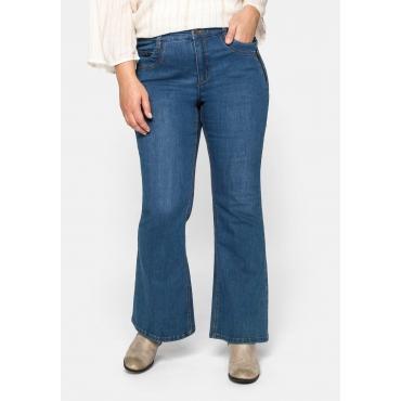 Große Größen: Flare Jeans mit weit ausgestelltem Saum und Catfaces, blue Denim, Gr.44-58