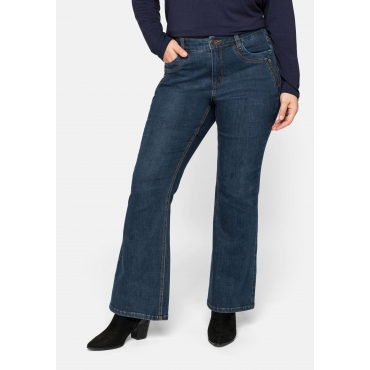 Große Größen: Flare Jeans mit weit ausgestelltem Saum und Catfaces, dark blue Denim, Gr.44-58