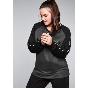 Funktions-Sweatshirt mit Frontdruck, grau-schwarz, Gr.44/46-56/58