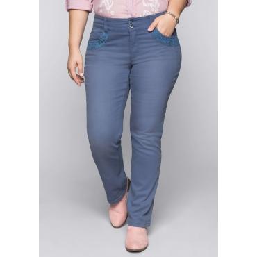 Große Größen: Gerade Colored-Stretch-Jeans LANA mit Spitze, rauchblau, Gr.44-58
