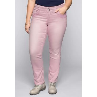 Große Größen: Gerade Colored-Stretch-Jeans LANA mit Spitze, rosé, Gr.44-58